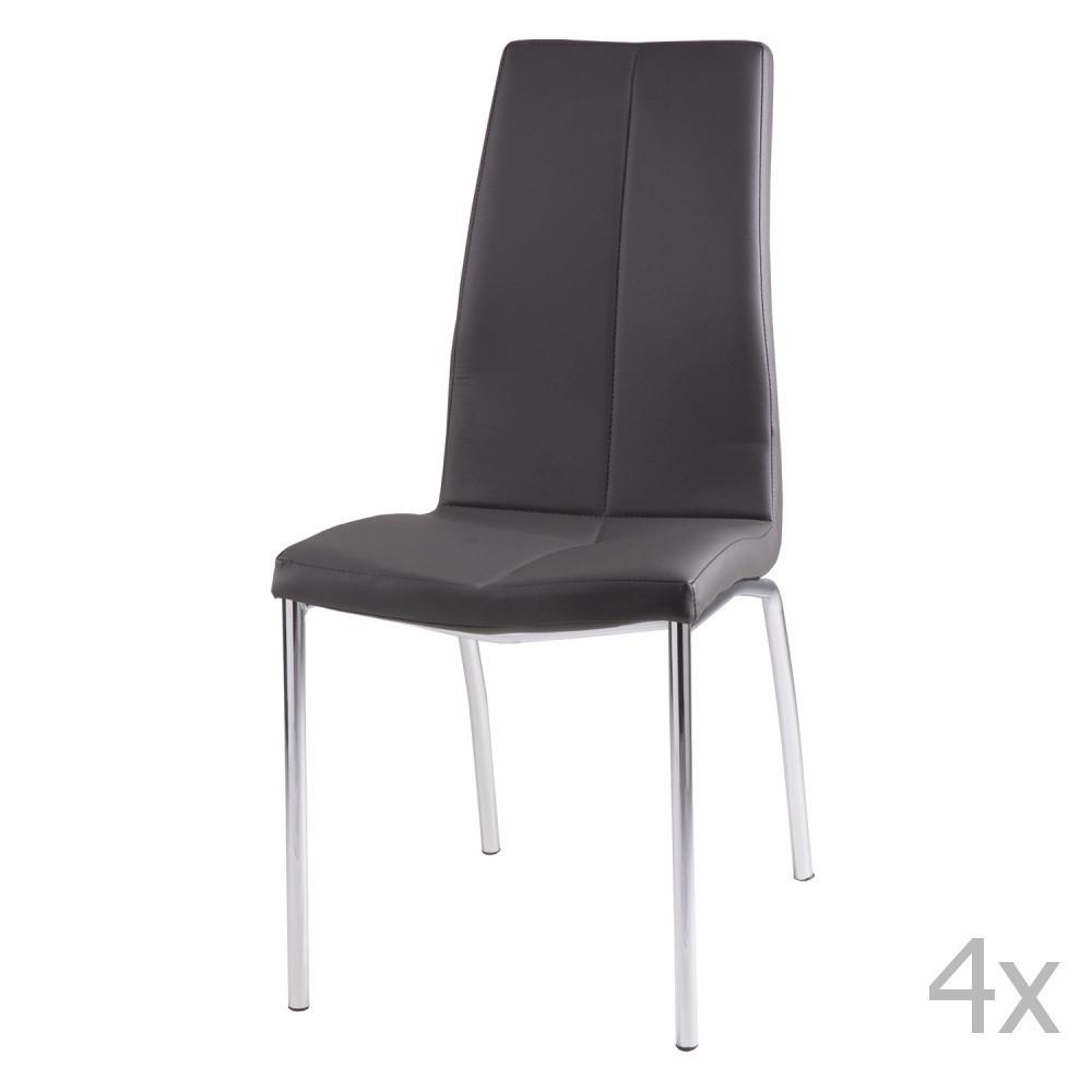 Sada 4 sivých jedálenských stoličiek sømcasa Olga