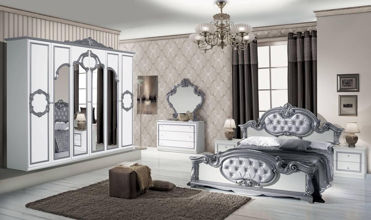 Spálňa BAROK BIANCO- strieborná, biela