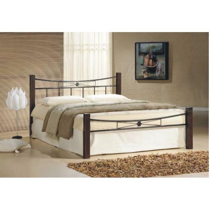 TEMPO KONDELA PAULA 160 manželská posteľ s roštom - orech / čierna