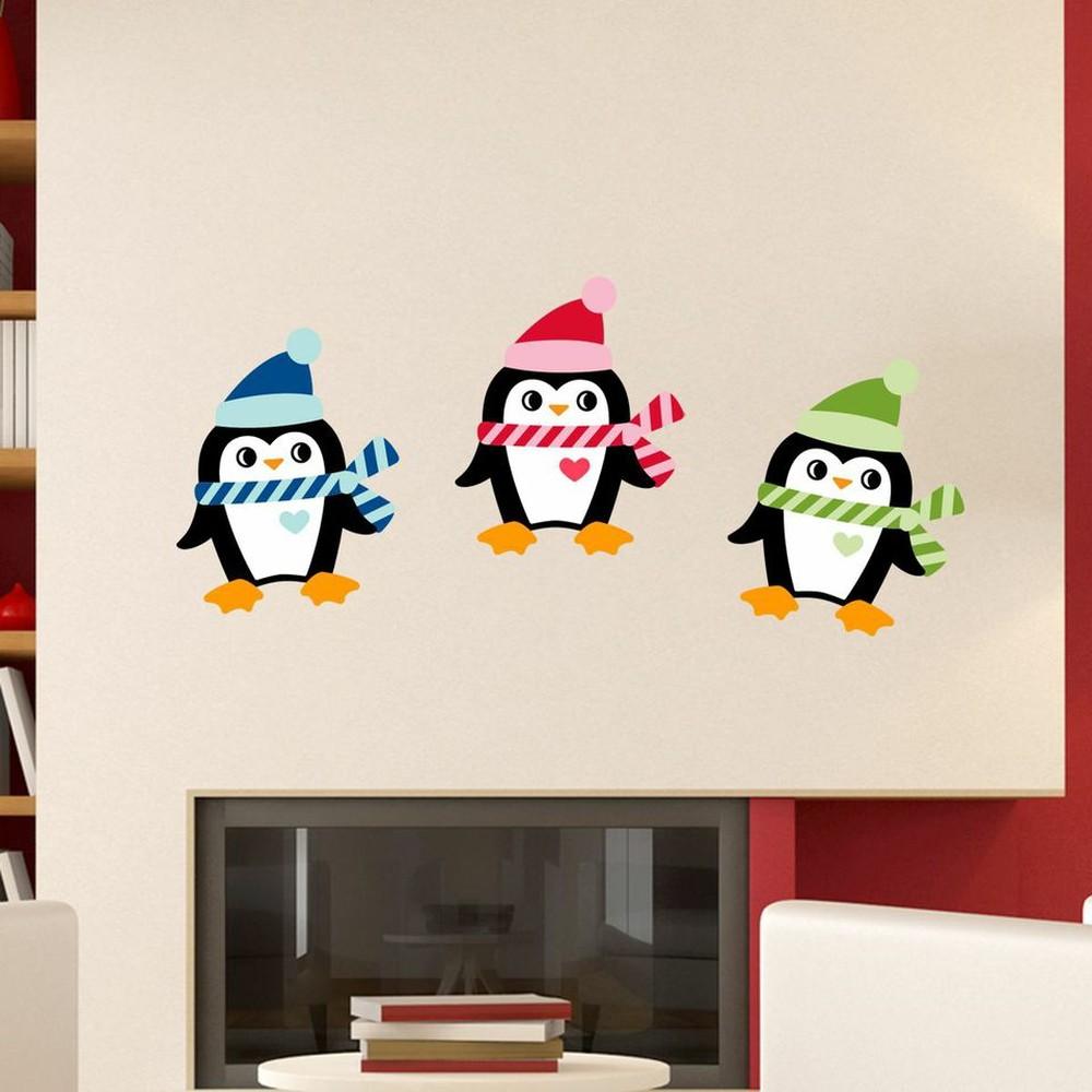 Sada 3 vianočných samolepiek Fanastick Christmas Penguins