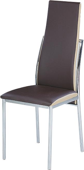 Jedálenská stolička, chróm/ekokoža tmavo hnedá/béžová, ZORA