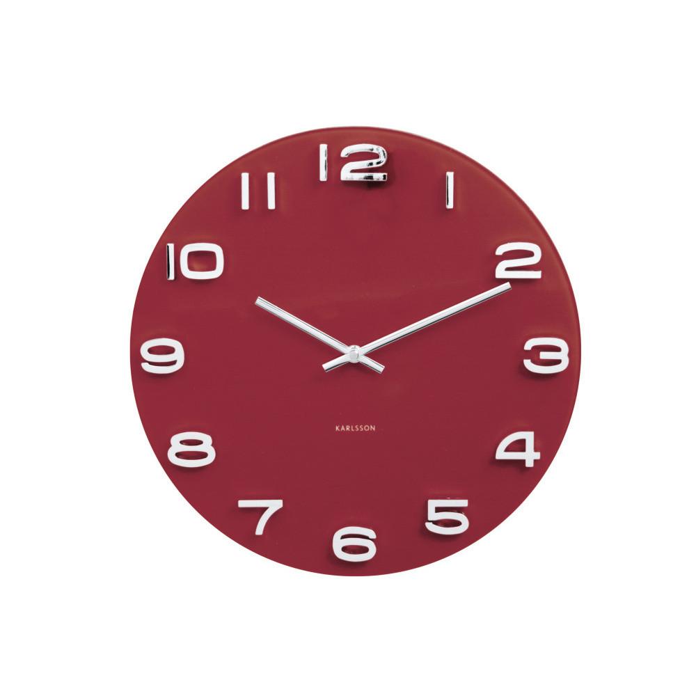 Červené hodiny Present Time Vintage