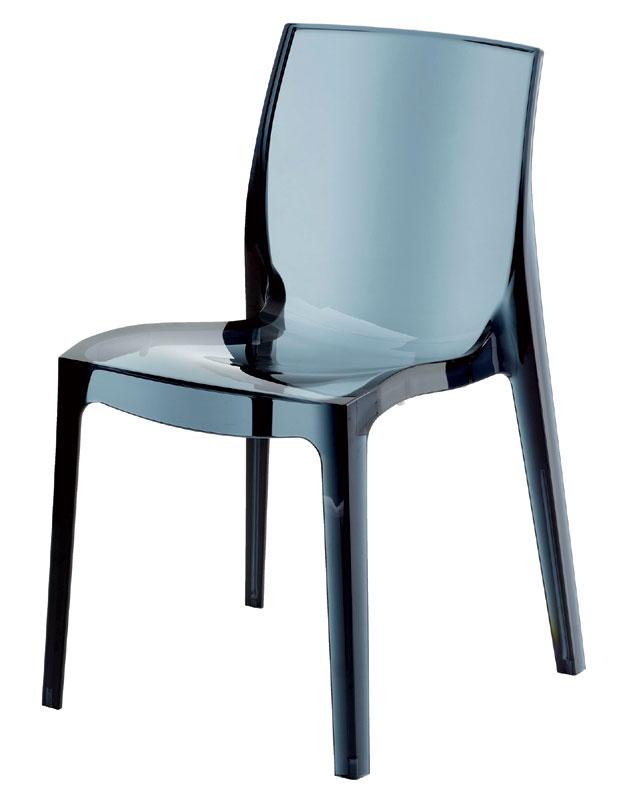 FEMME FATALLE transparentná stolička, antracit