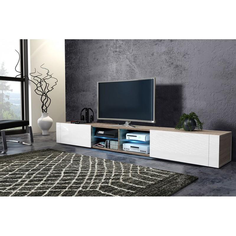 TV stolík/skrinka Best dvojitý (sonoma svetlá + lesk biely)