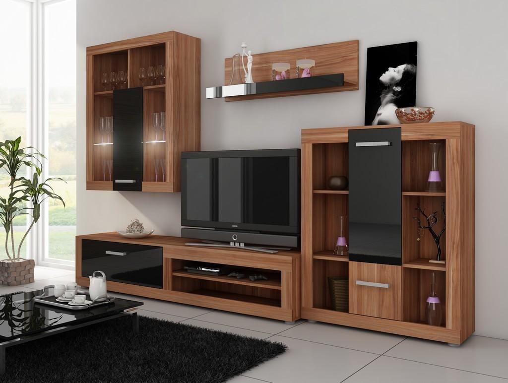 WIP VIKI obývacia stena - slivka / čierny vysoký lesk