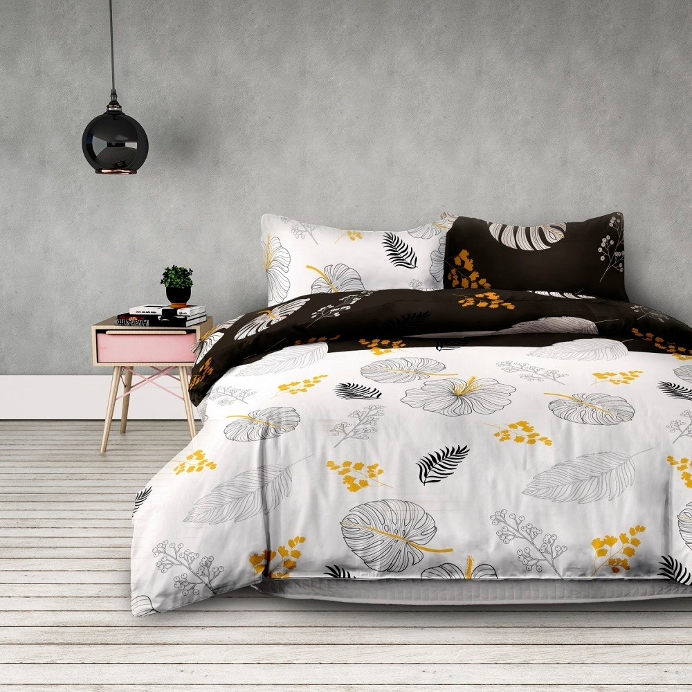 Predĺžené flanelové obliečky na dvojlôžko AmeliaHome Floral Rain, 200 x 220 cm + 70 x 80 cm