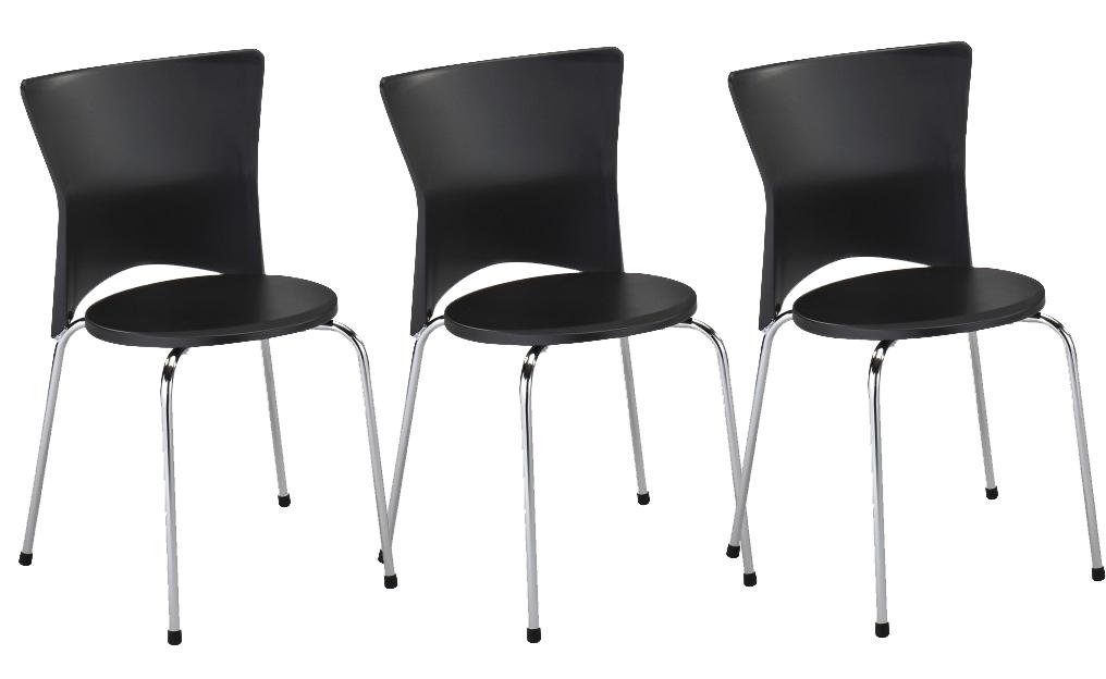 Set 3ks. jedálenských stoličiek Brisa (čierna + chróm) *výpredaj
