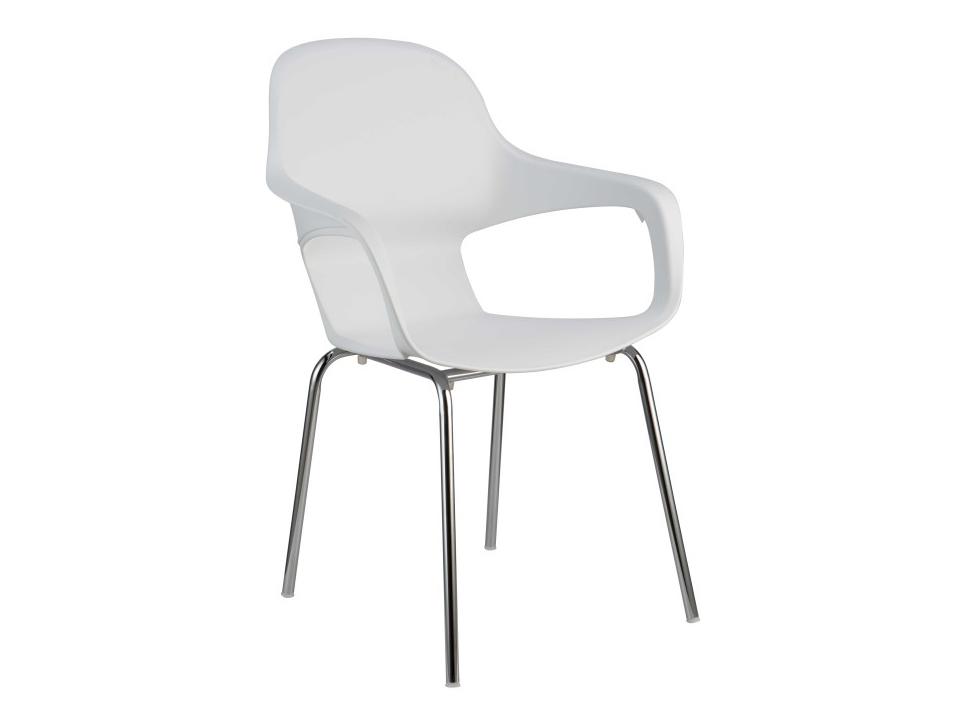 Jedálenská stolička Dorien (biela + chróm)
