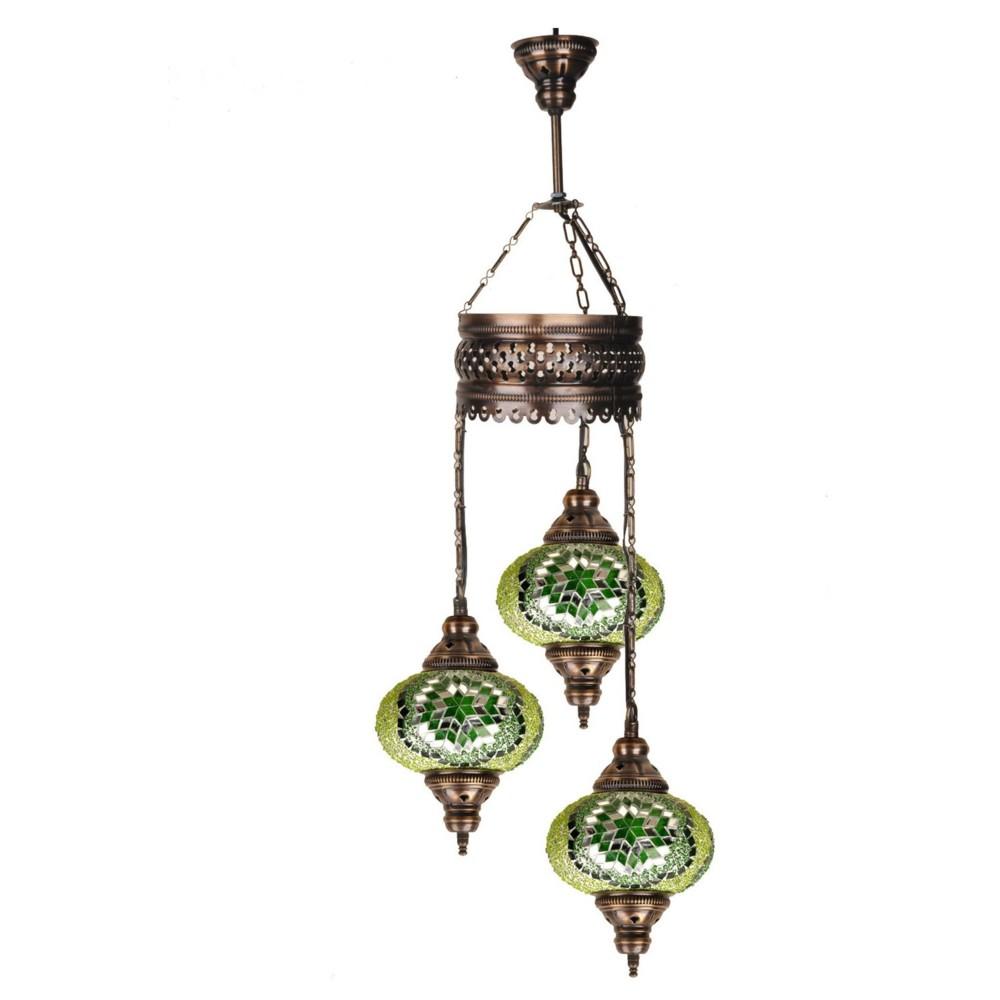 Trojitá sklenená závesná lampa Homemania Fishing, ⌀17cm