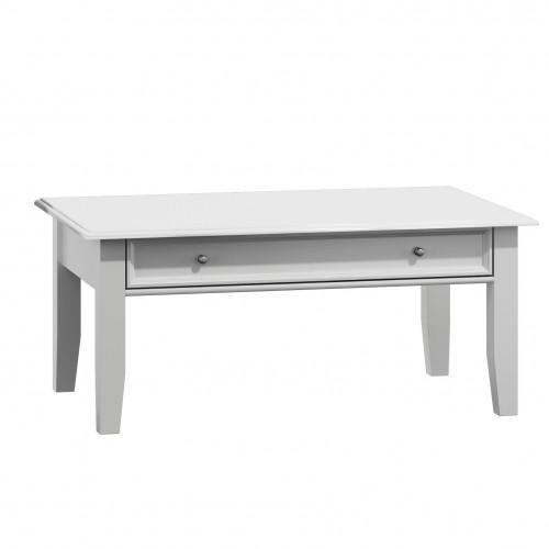 Biely nábytok Belluno Elegante drevený konferenčný stolík, biely, masív, borovica