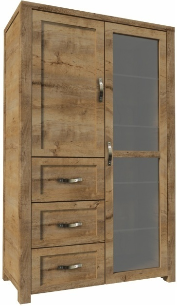 Vitrína trojzásuvková, s dvoma dverami, dub lefkas, NEVADA
