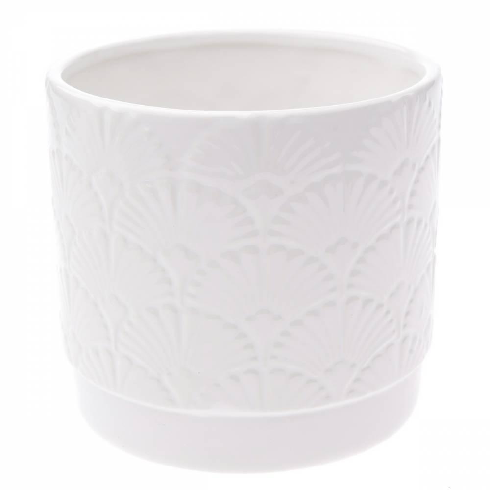 Keramický obal na kvetináč Shells, biela, 13,5 x 12,5 x 12 cm