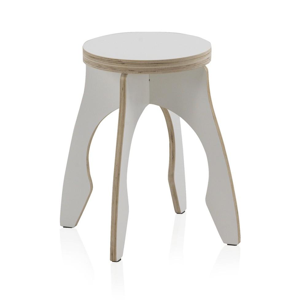 Biela detská stolička z preglejky Geese, ⌀ 41 cm
