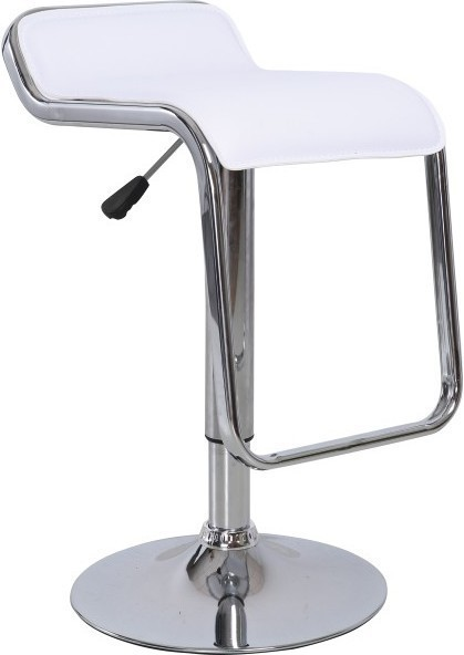 Barová stolička, ekokoža biela/chróm, ILANA
