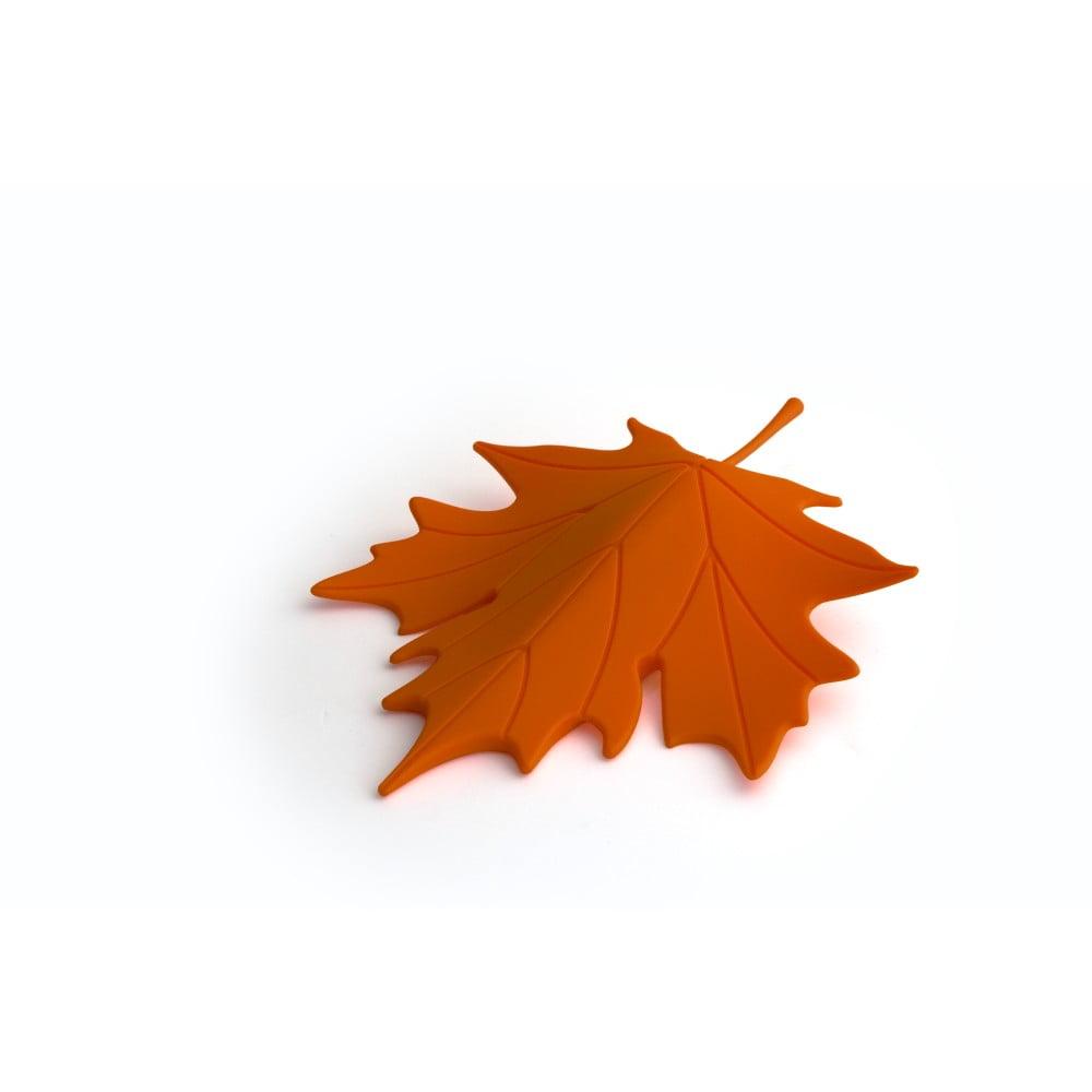 Oranžová zarážka pod dvere v tvare listu Qualy&CO Autumn