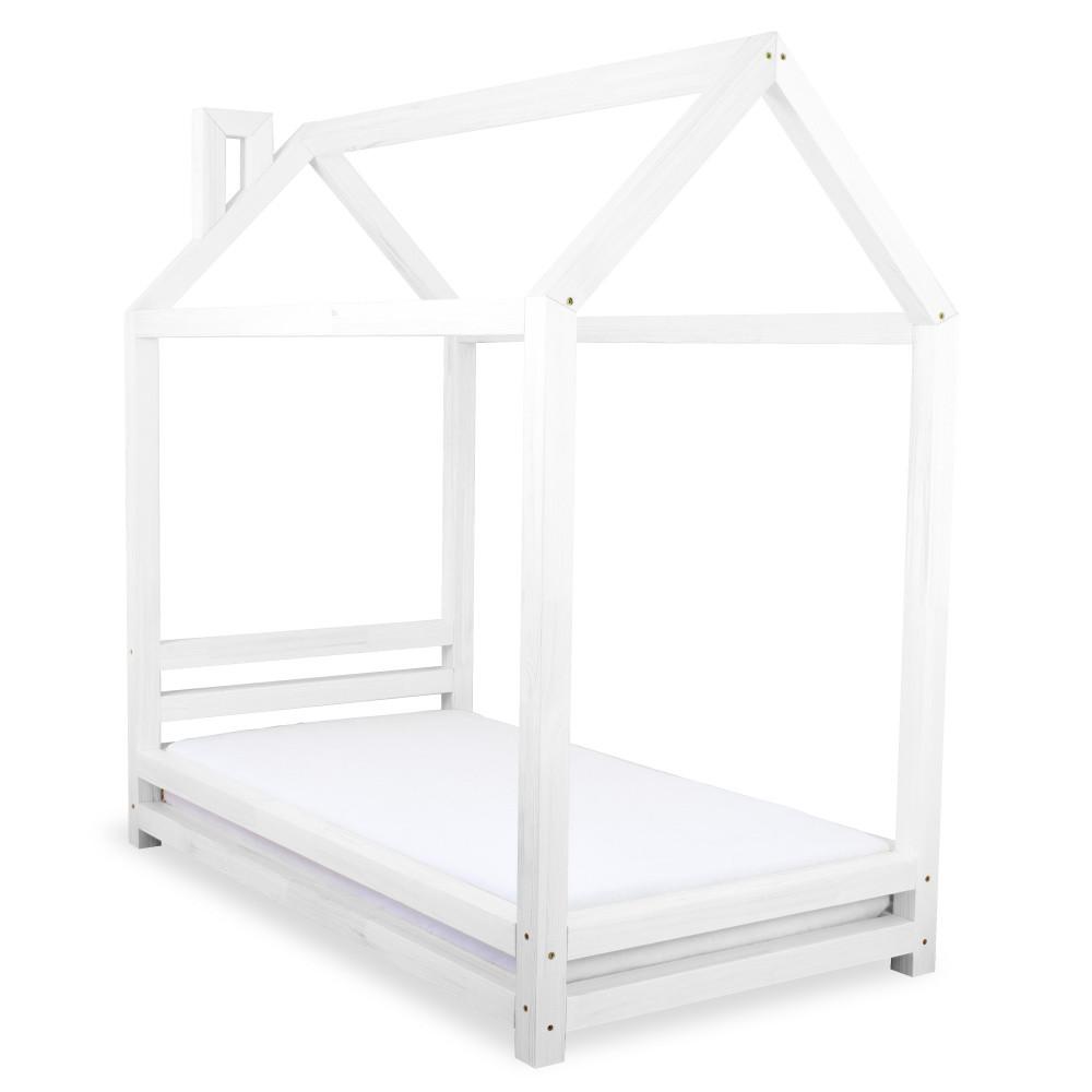 Detská biela posteľ zborovicového dreva Benlemi Happy, 90x180cm
