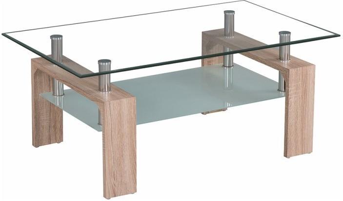Konferenčný stolík, sklo/dub sonoma, LIBOR NEW