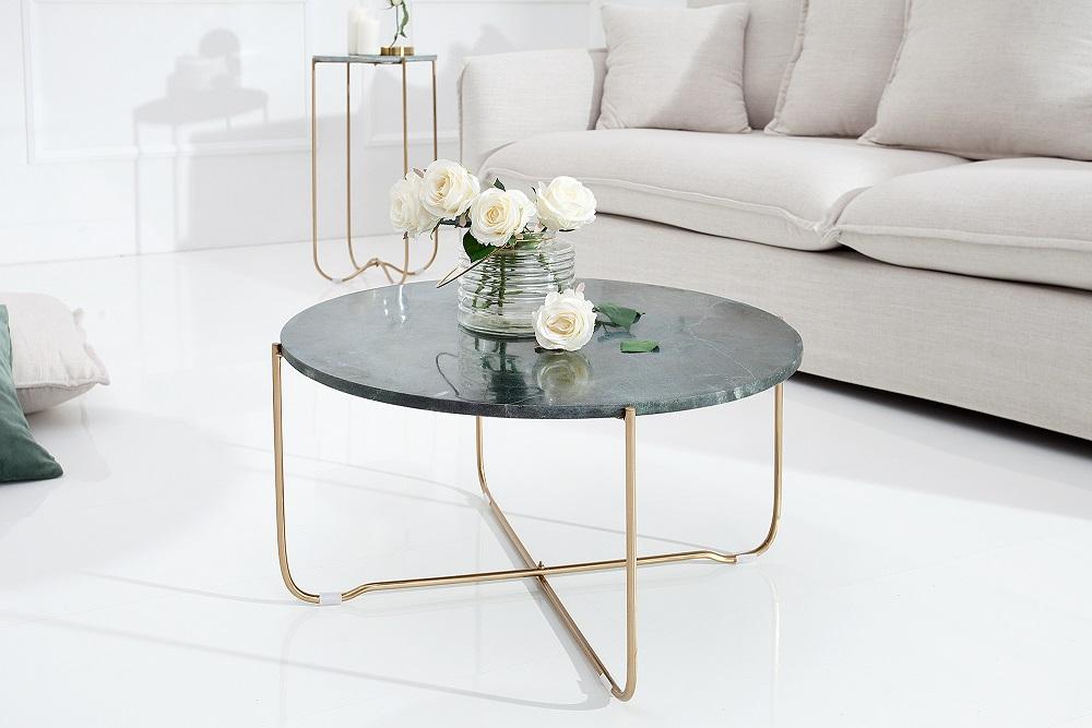Bighome - Konferenčný stolík NOBL - zelená , zlatá