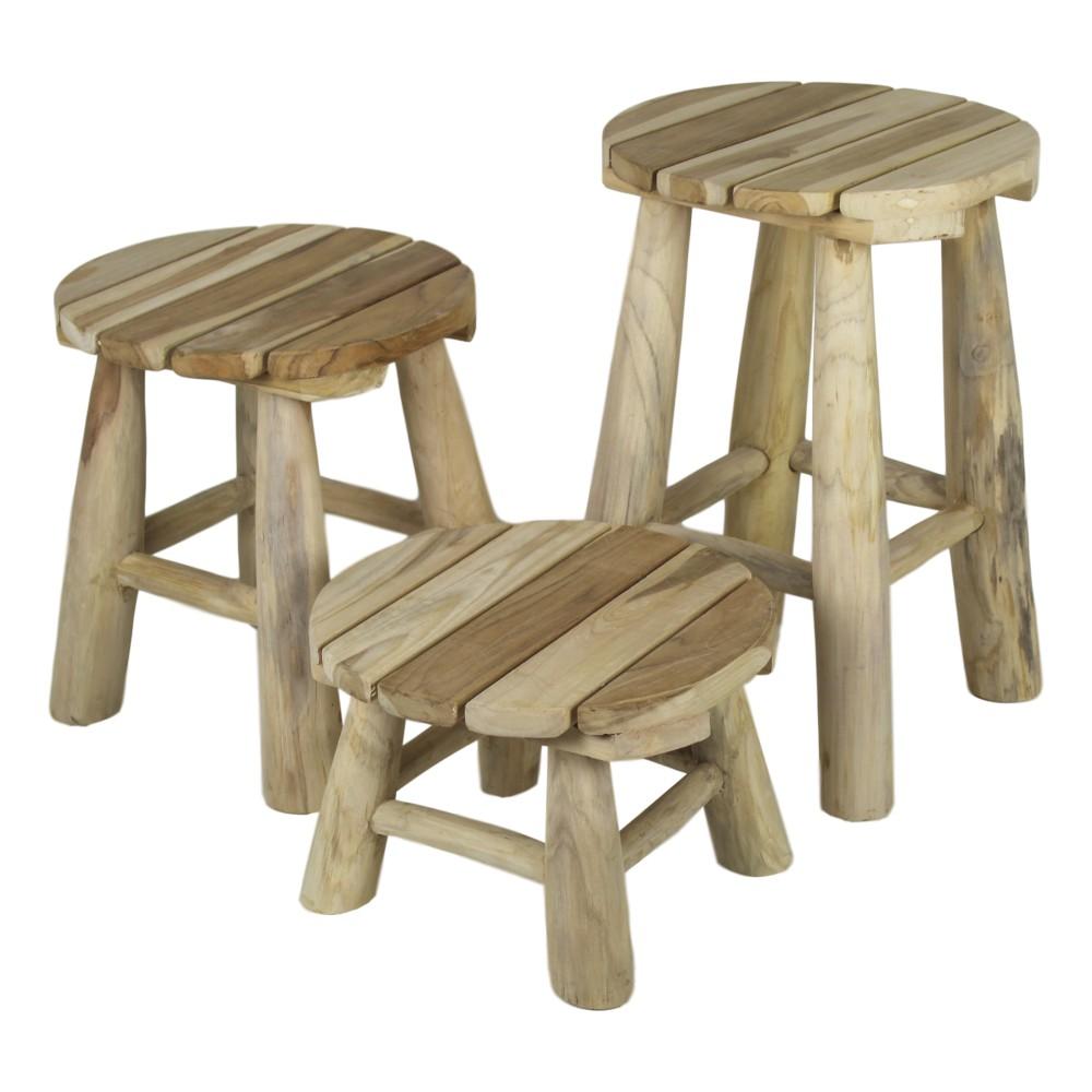 Sada 3 stoličiek z teakového dreva HSM collection