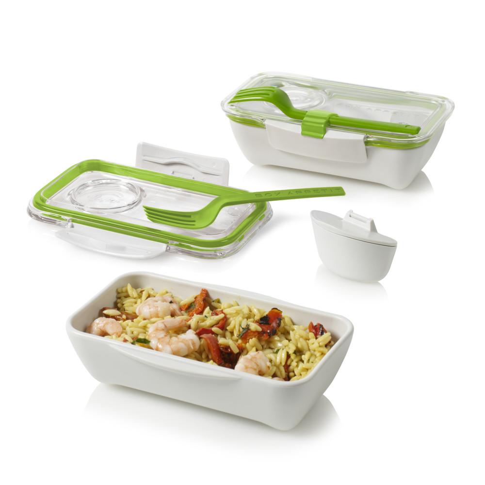 Desiatový box Bento, bielo-zelený