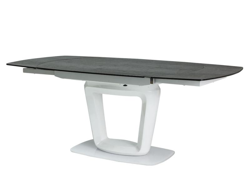 KLAUDIO KERAMIK jedálenský stôl, biely lesk/šedá