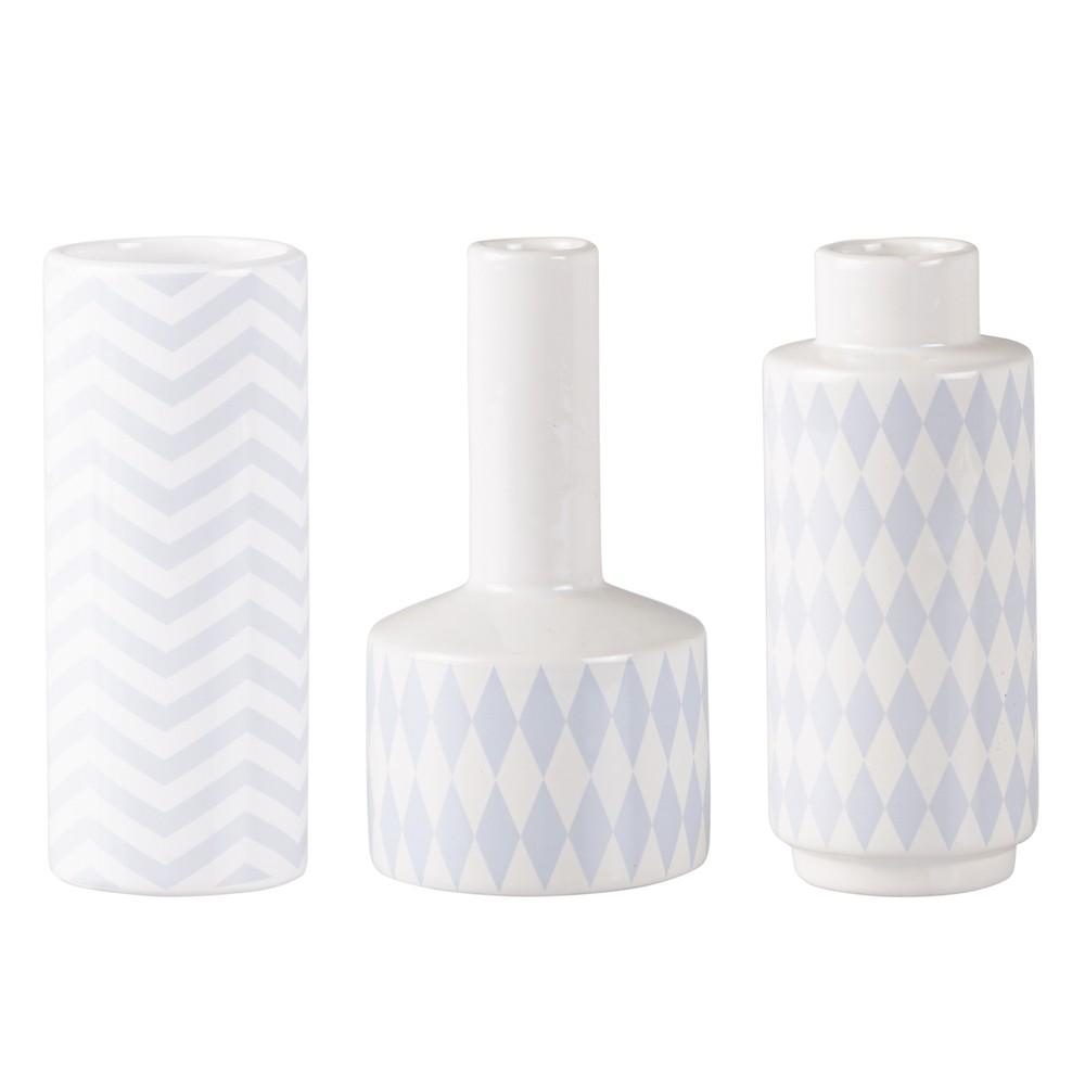 Sada 3 keramických modro-bielych váz KJ Collection Niels