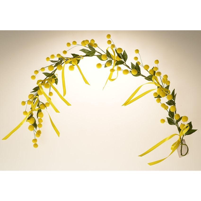 Umelá závesná vetvička Mimóza žltá, 50 cm