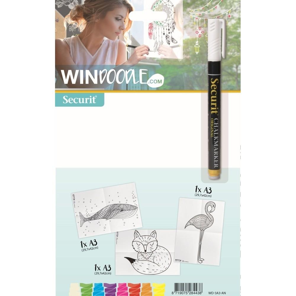 Set 3 šablón vo formáte A3 a popisovača na okno Animals