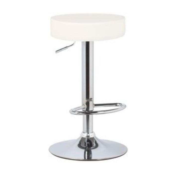 TEMPO KONDELA Barová stolička, biela ekokoža/chróm, ADALIN