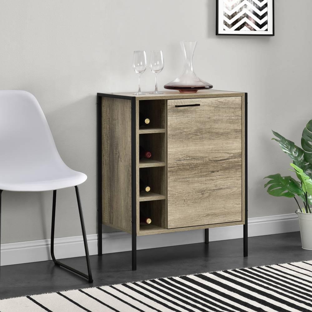 [en.casa]® Skrinka - komoda - čierna a imitácia dreva - 78 x 60 x 39 cm