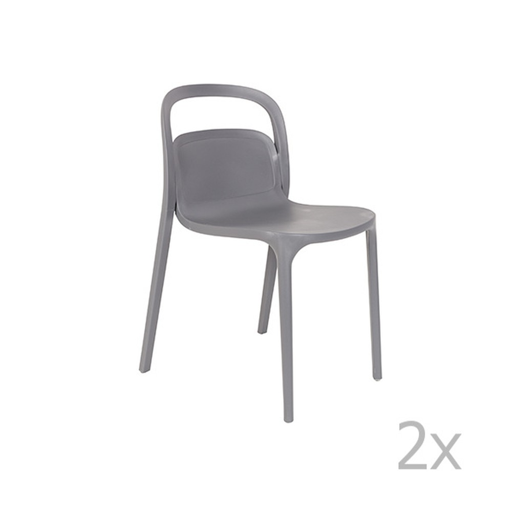 Sada 2 sivých stoličiek White Label Rex