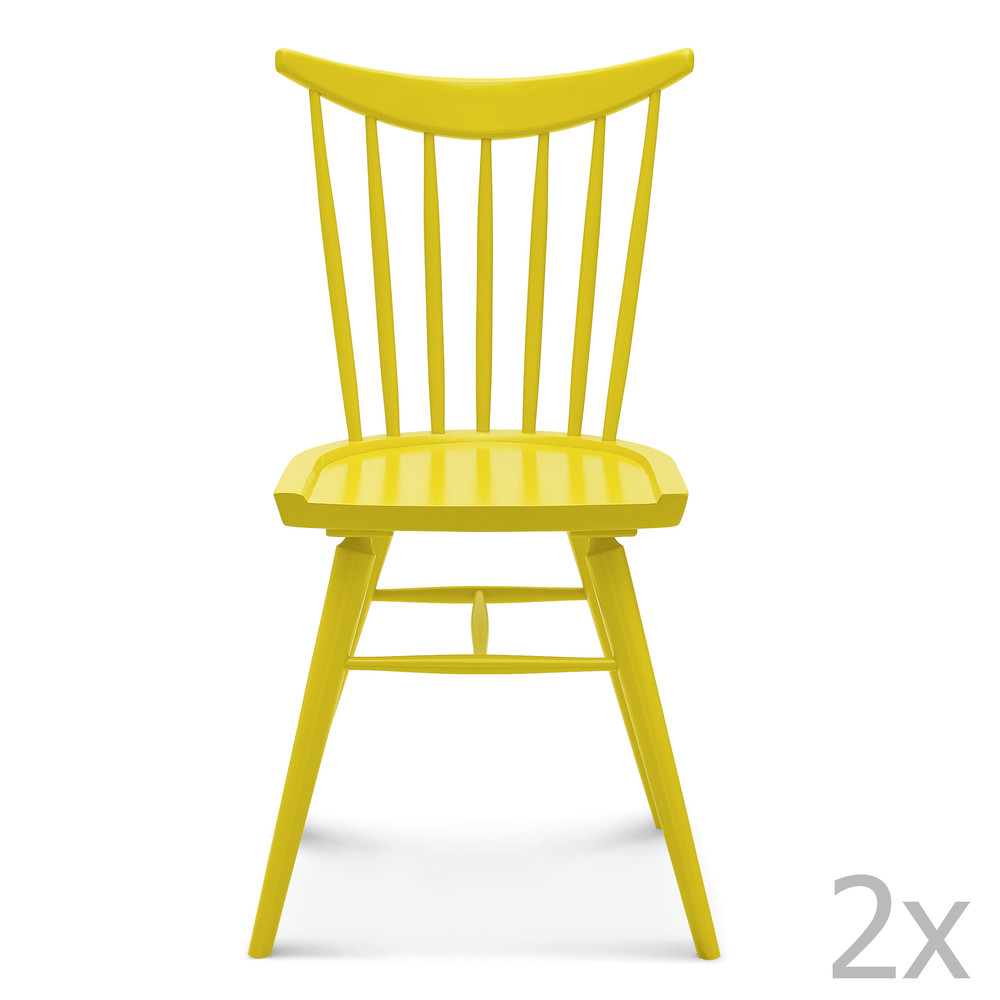 Sada 2 žltých drevených stoličiek Fameg Anton