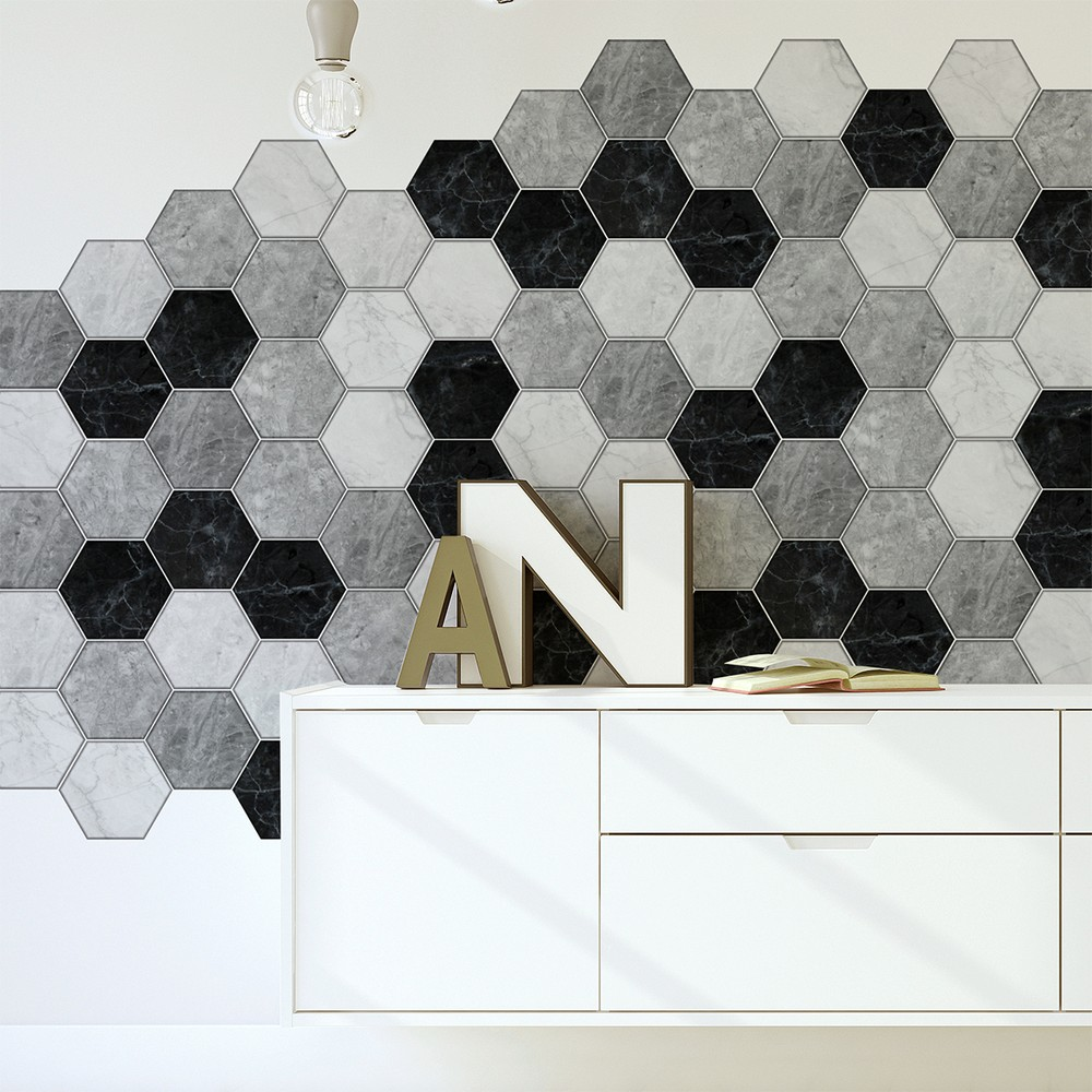 Sada 28 samolepiek Ambiance Hexagons Marble, 60 x 90 cm