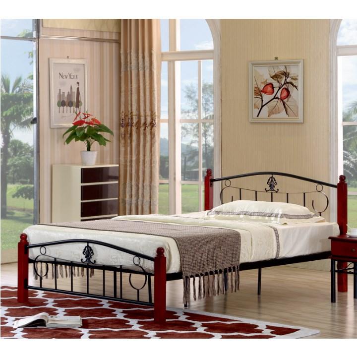 TEMPO KONDELA MAGENTA 140 manželská posteľ s roštom - tmavý dub / čierna